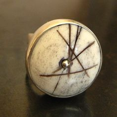 Scrimshaw Ring, bone and ink set in silver