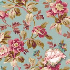 "Rose Hill Lane 1864-001 By Robyn Pandolph For RJR Fabrics: Rose Hill Lane is a collection by Robyn Pandolph for RJR Fabrics. 100% cotton. 43/44"" wide. This fabric features an elegant trailing floral design set on a blue background."