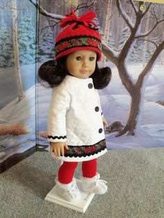 Heavy Quilted Coat and Hat / Clothes for American Girl Doll