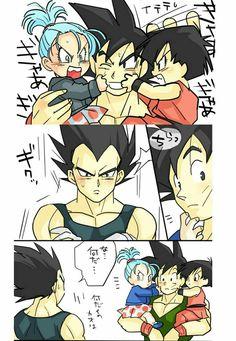Goku, Bulla, Pan, and Vegeta