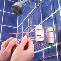 DIY instant razor storage: cut two notches in a short length of PVC pipe and attach to your shower caddy with plastic tie straps. What a great idea. Bathroom Organization, Bathroom Storage, Storage Organization, Storage Ideas, Shower Storage, Bathroom Hacks, Organizing Tips, Shower Organizing, Bathroom Ideas
