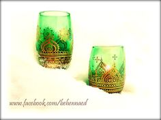 Henna Mehndi Hand-Painted Green Glass Wine Tumblers www.facebook.com/behennaed Glass Glassware Wine henna mehndi India Morocco wine tumbler wedding bohemian gypsy New Year Christmas Holiday sacred tribal goddess