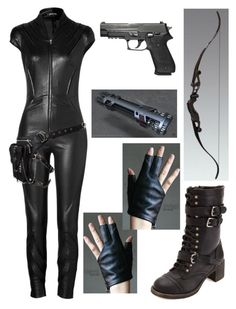 A fashion look from July 2014 featuring romper jumpsuit, lace-up boots and fingerless leather gloves. Browse and shop related looks. Bad Girl Outfits, Edgy Outfits, Fashion Outfits, Marvel Inspired Outfits, Spy Outfit, Mode Sombre, Warrior Outfit, Super Hero Outfits, Fandom Outfits