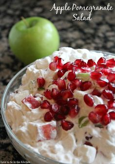 Apple Pomegranate Salad- So beautiful and easy to make! The perfect salad for this Christmas with red and green apples plus more red from the pretty pomegranate.
