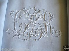 """Antique French Linen Sheet """"Fil de Lin"""" Hand Embroidered Monogram French Lace 