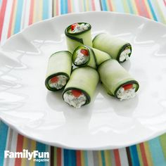 Cucumber Roll-Ups: Kids can help make these tasty two-bite snacks for a summer picnic.