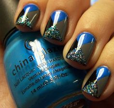 Glitter Color block Nails #Blue #Black #Grey