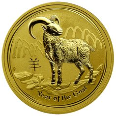 """The new 2015 """"Year of the Goat"""" Gold Coins from the Perth Mint have been released. These beautiful coins were minted as part of the Australian Gold Lunar Coin Series. These coins have limited worldwide mintages and a new design each year representing the ancient Chinese Lunar Calendar. The magnificent Gold Coins are struck in .999 fine Gold and are now available in 1 oz. size Gold Bullion Coin. www.austincoins.com"""