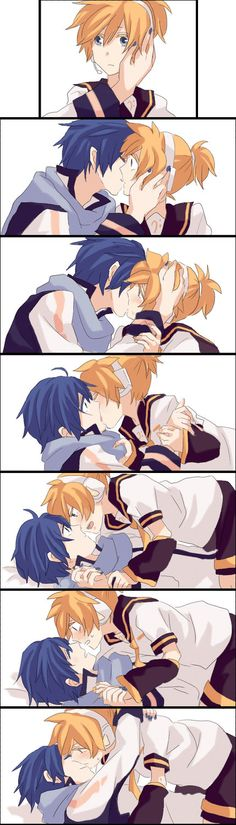 Don't really ship this but it's pretty cute! //Kaito x Len (Vocaloid) by Akiyoshi (Pixiv ID # 754675)
