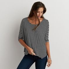 AEO Soft & Sexy Oversized T-Shirt ($25) ❤ liked on Polyvore featuring tops, t-shirts, black, american eagle outfitters, sexy tops, sexy black tops, oversized tops and black top