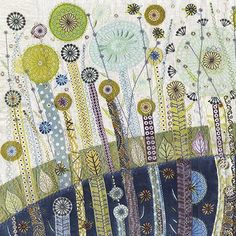 For a while now I've admired the work of Nancy Nicholson. She has established a reputation for her work in textiles, whilst more recently has been designing in paper and card. Embroidery Applique, Embroidery Stitches, Machine Embroidery, Creative Textiles, Fabric Pictures, Art Graphique, Textile Artists, Fabric Art, Fiber Art