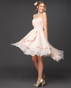 Pleated Strapless Layer Skirt Bridesmaid Dress designed by Rami Kashou for bebe Bridal