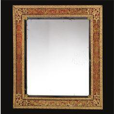 A VERY FINE VERRE ÉGLOMISÉ AND GILTWOOD MOUNTED MIRROR, LOUIS XIV, CIRCA 1700  sold @ Sotheby's for 156,750 Euro