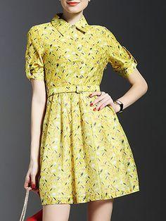 Printed #Shirt #Dress With Belt