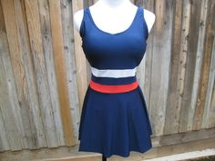 Skirted Red White and Blue Swimsuit / Bathing Suit / Play Suit - One Piece by Blair - Made in Hong Kong - Size M Medium - L Large Vintage Beach Party, Vintage Outfits, Vintage Fashion, Under The Skirt, Two Piece Skirt Set, One Piece, Blue Swimsuit, White Strips, Antique Clothing
