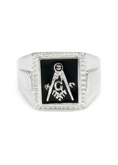 Sterling silver Mason Masonic ring with black enamel