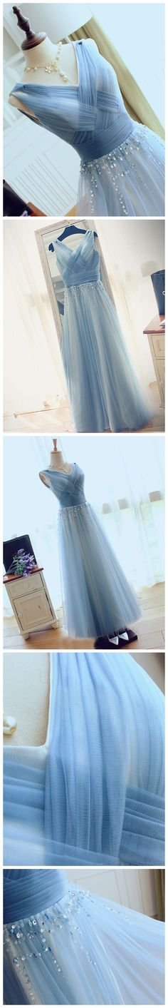a-line v-neck blue tulle bridesmaid dress