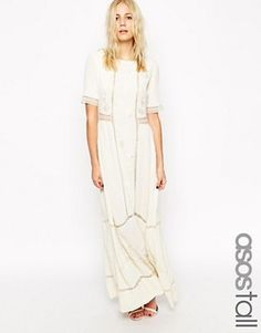 Buy ASOS TALL Maxi Dress With Lace Inserts and Floral Embroidery at ASOS. With free delivery and return options (Ts&Cs apply), online shopping has never been so easy. Get the latest trends with ASOS now. Lace Dress, Dress Up, White Dress, Asos, Maxi Robes, Costume, Gorgeous Wedding Dress, Bridesmaid Dresses, Wedding Dresses
