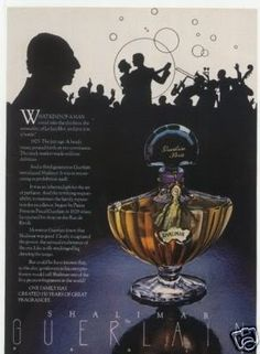 I have a vintage ad similar to this one that shows just the gorgeous bottle with the blue stopper. Never cared for the fragrance, but that bottle is iconic! Shalimar Guerlain, Perfume Reviews, Best Perfume, Vintage Perfume, Vintage Beauty, Vintage Ads, Perfume Bottles, Ad Campaigns, Rolodex