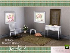 A new set designed into shabby style containing 9 items: rocking chair, simple chair, table, books, open book, pillow, rug and 2 paintings.  Found in TSR Category 'Sims 3 Living Room Sets'