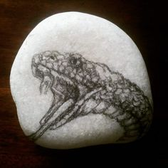 "RM 10 L'p - snake 01 3"" x 3"" charcoal / pencil sketch on stone"