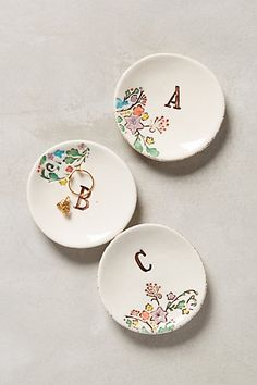 Monogram Garland Ring Dish #anthropologie I love these! I'm going to have to buy one for myself and one for the better half.