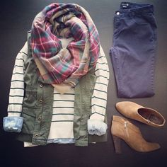 Striped sweater, chambray shirt, cargo vest, plaid scarf, skinnies, booties