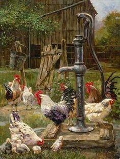 Details about Ceramic Tile Mural Backsplash Mirkovich Rooster Chickens Country Life Art - Kitchen Ideas Chicken Painting, Chicken Art, Rooster Art, Rooster Decor, Country Art, Country Life, Country Kitchen, Arte Do Galo, Graffiti Kunst