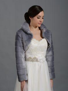Silver long sleeve faux fur bolero jacket FB001_Silver