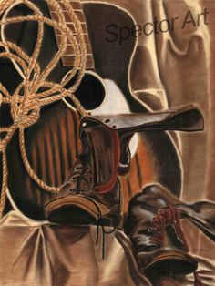 Custom Pastel Still Life of Mid Western style Boots by SpectorArt, $35.00