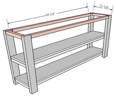 furniture plans Another console for the books! Lets take a look at my build! This one is definitely a show stopper! Dimensions: Materials List: 8 ft 10 ft 2 Pocket Hole Screws 2 Wood Screws Wood Glue Step Assemble top and bottomshelf by attaching to Diy Furniture Plans, Types Of Furniture, Woodworking Furniture, Cheap Furniture, Furniture Projects, Rustic Furniture, Furniture Nyc, Furniture Cleaning, Furniture Market