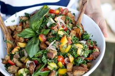 peaches + tomatoes + kale; Summer Panzanella by The First Mess