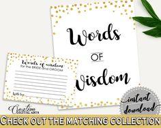 Words Of Wisdom Bridal Shower Words Of Wisdom Confetti Bridal Shower Words Of Wisdom Bridal Shower Confetti Words Of Wisdom Gold White CZXE5 - Digital Product #bridalshower #bridetobe