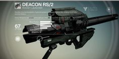 Shoulder-mounted devastation. A general-purpose launcher, the Deacon was designed to kill Fallen and their Walkers. Deacon RS/2 is a basic rocket launcher.. #destiny
