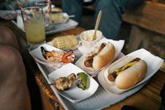"""county fair style food... anything can be made """"fair food"""" by serving in red & white striped cardboard trays"""