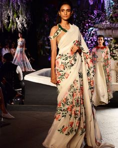 "ManishMalhotraWorld on Twitter: ""Ivory saree with Resham floral work &…"