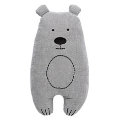 100% Cotton Cushion. 100% Polyester filling. Novelty bear shape cushion, with embroidered details. Available in Charcoal. One Size. Measures: 37x22cm.