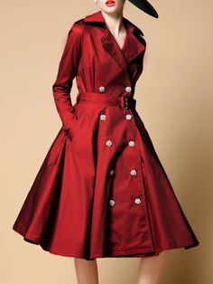 Shop Midi Dresses - Burgundy  A-line Long Sleeve Midi Dress with Belt online. Discover unique designers fashion at StyleWe.com.