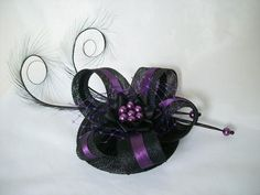 Black & Purple Isabel - Pheasant Curl Feather Sinamay and Pearl Fascinator Mini Hat - Gothic Diva Designs