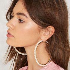 Huge Pearl Hoop Earrings from Nasty Gal