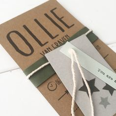 Geboortekaart met labels Ollie