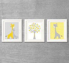 Yellow and grey Nursery Art Print Set, Kids Room Decor - Love tree, Giraffe family, baby giraffe, chevron Teal Nursery, Elephant Nursery Art, Nursery Room Decor, Nursery Themes, Nursery Ideas, Baby Elephant, Nursery Prints, Baby Boy Rooms, Baby Boy Nurseries