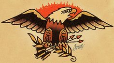 Most Popular ideas for american traditional tattoo eagle sailor jerry Patriotische Tattoos, Hawaiianisches Tattoo, Blue Tattoo, Eagle Tattoos, Funny Tattoos, Bodysuit Tattoos, Arabic Tattoos, Dragon Tattoos, Sleeve Tattoos