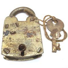 Vintage Padlock & Skeleton Key Working Old Iron Rusty Antique Rolex Lock AGPL13