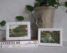 VINTAGE 1927 Postcards in UPCYCLED Vintage Frames Hartford, CT Souvenir Cards Elizabeth Park Pond and Bridge & Bushnell Park Connecticut