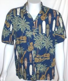 9578d36d2 Vintage Aloha Shirt Mens Large Surfboards Ukulele Palm Trees Made in HAWAII  #DiamondHead #Hawaiian