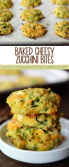 These cheesy zucchini bites are a healthier zucchini fritter without sacrificing any flavor. Baked Zucchini Fritters, Zucchini Bites, Base Foods, Fitness 24, Fitness Watch, Fitness Models, Healthy Granola Bars, No Bake Snacks, Snack Box