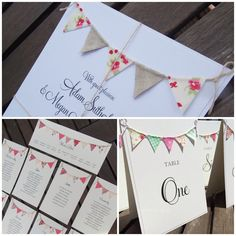 Bunting wedding on the day stationery. Rustic country wedding FromLeoniWithLove,