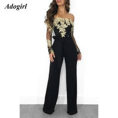 d8a700420ea Appliques Lace Patchwork Jumpsuit Women Sexy Off Shoulder Slash Neck Long  Sleeve Women Jumpsuit Elegant Slim Wide Leg Jumpsuit