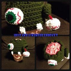 Zombie Hat - Come is ALL sizes and colors of your choice! - 0-2yrs $13, 3-10yrs $18, and 11yrs+ $23 - Shipping is $5 and I ship anywhere in the contiguous US!